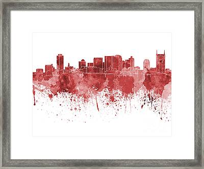 Nashville Skyline In Red Watercolor On White Background Framed Print by Pablo Romero