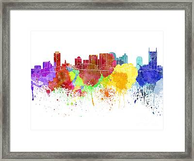 Nashville Skyline In Watercolor On White Background Framed Print by Pablo Romero