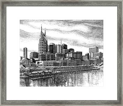 Framed Print featuring the drawing Nashville Skyline Ink Drawing by Janet King