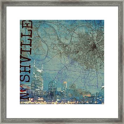 Nashville Skyline Map Framed Print by Brandi Fitzgerald