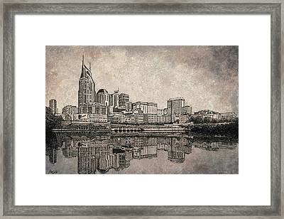 Nashville Skyline Mixed Media Painting  Framed Print by Janet King