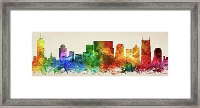 Nashville Skyline Panorama Ustnna-pa03 Framed Print