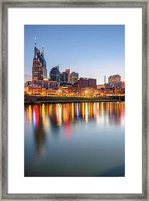 Framed Print featuring the photograph Nashville Skyline Reflections - Color Edition by Gregory Ballos