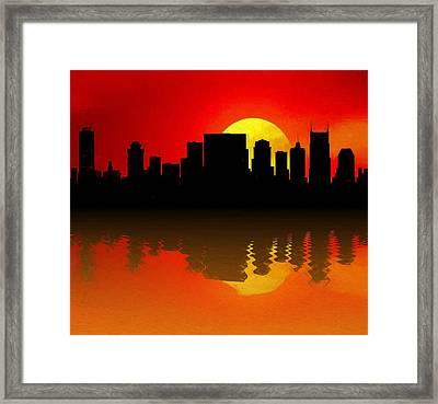 Nashville Skyline Sunset Reflection Framed Print