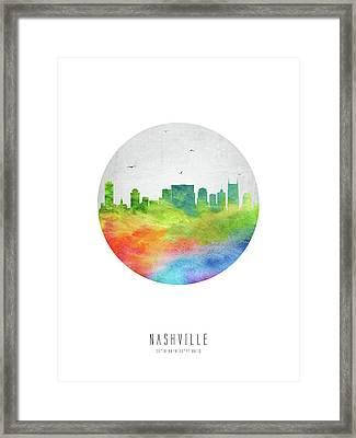 Nashville Skyline Ustnna20 Framed Print by Aged Pixel