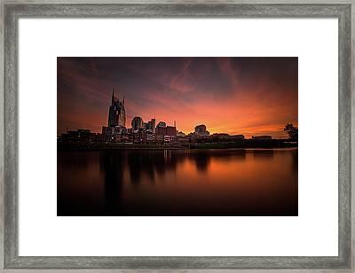 Nashville Sunset Over A Silky Skyline Reflection Framed Print