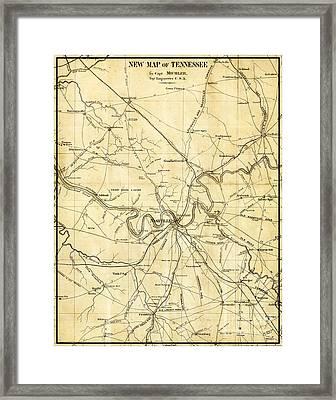 Nashville Tennessee Antique Vintage City Map Framed Print