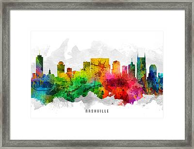 Nashville Tennessee Cityscape 12 Framed Print by Aged Pixel