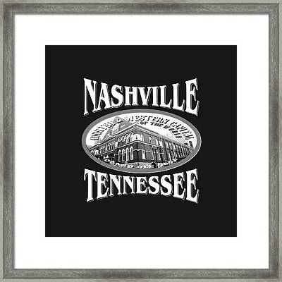 Nashville Tennessee Tshirt Design Framed Print by Art America Gallery Peter Potter