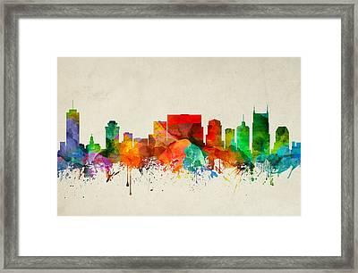 Nashville Tennessee Skyline 22 Framed Print by Aged Pixel