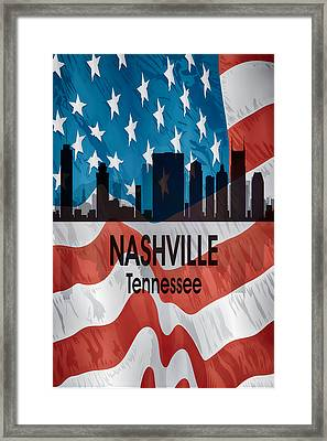 Nashville Tn American Flag Vertical Framed Print