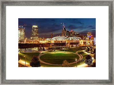 Framed Print featuring the photograph Nashville Twilight Skyline by Brian Jannsen
