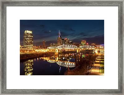 Framed Print featuring the photograph Nashville Twilight Skyline II by Brian Jannsen