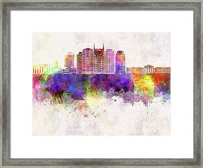 Nashville V2 Skyline In Watercolor Background Framed Print by Pablo Romero