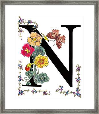 Nasturtium And Nettle-tree Butterfly Framed Print