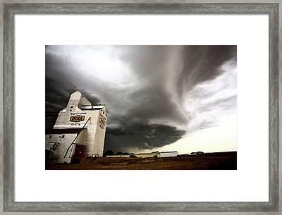 Nasty Looking Cumulonimbus Cloud Behind Grain Elevator Framed Print by Mark Duffy