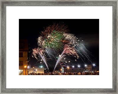 Natal Day Fireworks Halifax Harbour Framed Print by Irena Kazatsker
