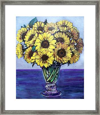 Natasha's Sunflowers Framed Print by Sheila Tajima