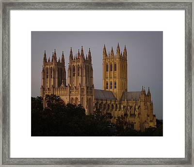 National Cathedral At Twilight Framed Print