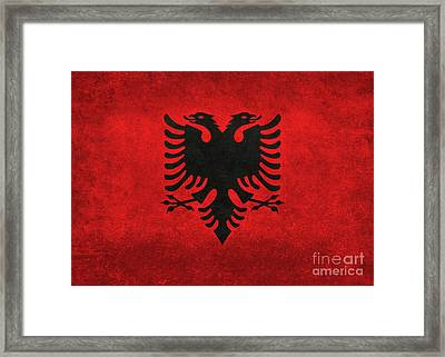 Framed Print featuring the digital art National Flag Of Albania With Distressed Vintage Treatment  by Bruce Stanfield