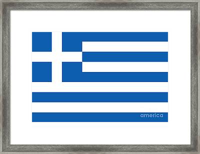 National Flag Of Greece Authentic Version Framed Print