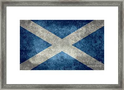 National Flag Of Scotland Vintage Version Framed Print