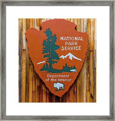 National Park Service Sign Framed Print by Brian MacLean