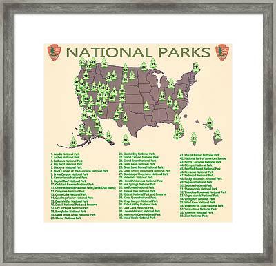 National Parks Map Framed Print