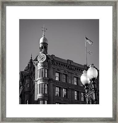 Framed Print featuring the photograph National Savings And Trust Company In Black And White by Greg Mimbs