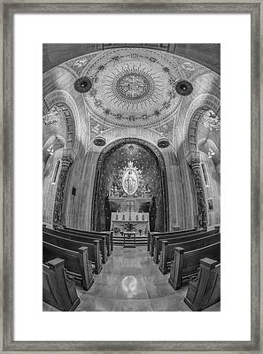 National Shrine Of The Immaculate Conception Chapel Bw Framed Print by Susan Candelario
