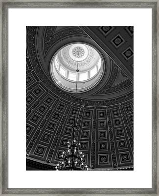 National Statuary Hall Ceiling In Black And White Framed Print