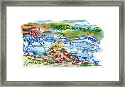 National Whitewater Center Abstract Sketch Framed Print