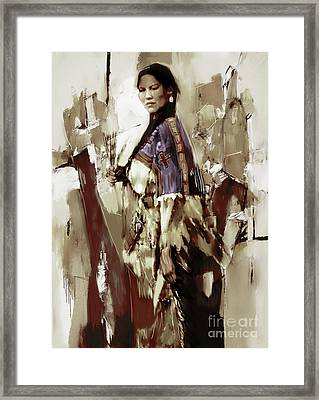 Native America Woman 33 Framed Print by Gull G