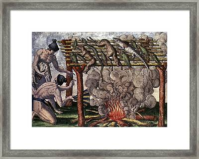 Native American Barbecue Framed Print