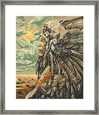 Native American Chief 2 Framed Print by Bekim Art