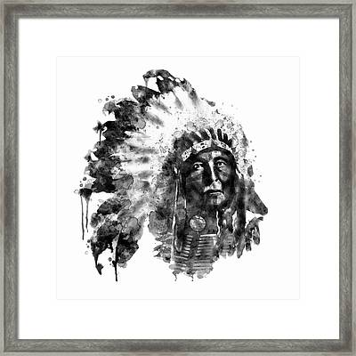 Native American Chief Black And White Framed Print by Marian Voicu