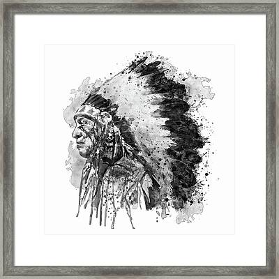 Native American Chief Side Face Black And White Framed Print by Marian Voicu