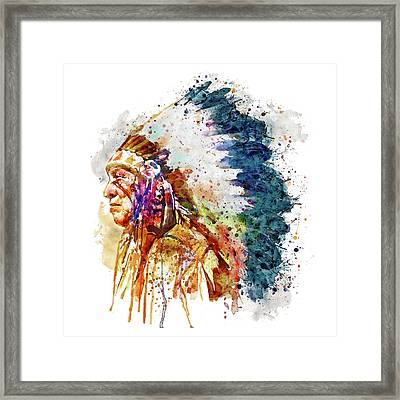 Native American Chief Side Face Framed Print by Marian Voicu
