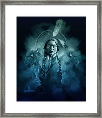 Native American Chief-sitting Bull Framed Print