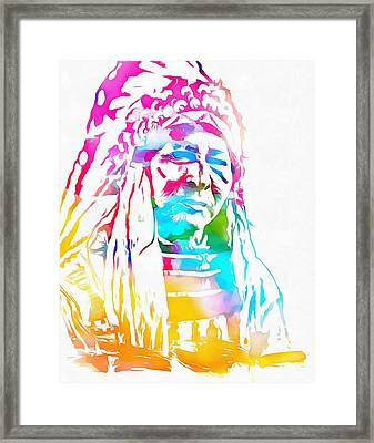Native American Chief Watercolor Headdress Framed Print