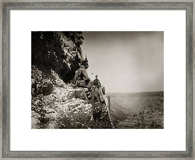 Native American Crow Men On Rock Ledge Framed Print by Jennifer Rondinelli Reilly - Fine Art Photography