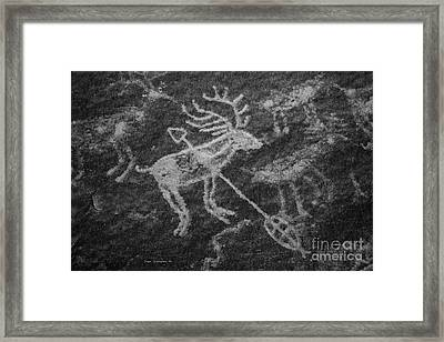 Native American Deer Shot With Arrow Petroglyph On Sandstone B W Framed Print by John Stephens
