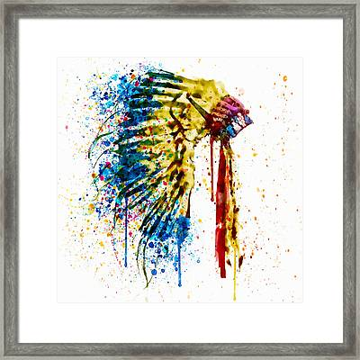 Native American Feather Headdress   Framed Print