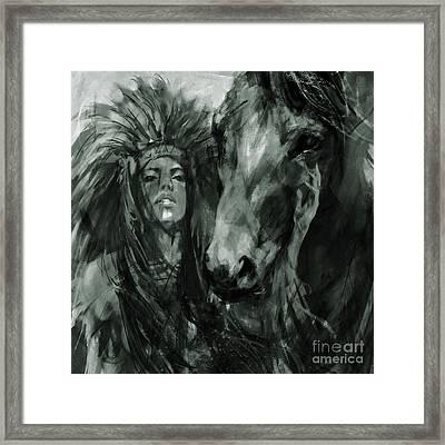 Native American Female With Horse  Framed Print