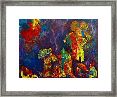 Framed Print featuring the painting Native American Fire Spirits by Claire Bull