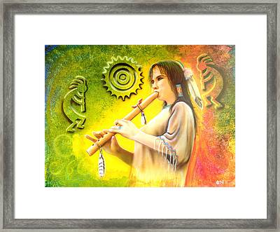 Native American Flute Player Framed Print by Amatzia Baruchi