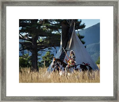 Native American In Full Headdress In Front Of Teepee Framed Print by Nadja Rider