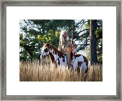 Native American In Full Headdress On A Paint Horse Framed Print