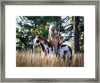 Native American In Full Headdress On A Paint Horse Framed Print