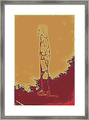 Native American Indian Boy With Bandaged Arm Framed Print by Sheri Buchheit